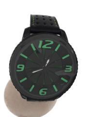 ROUE/クォーツ腕時計/アナログ/レザー/GRN/BLK