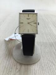手巻腕時計/アナログ/レザー/ホワイト/シルバー/中古
