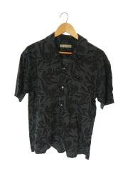 NUC72SH0922TA/17SS/リネンオープンカラーシャツ/半袖シャツ/S/リネン/ネイビー/総柄