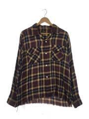 19SS/Cut-Off Bottom Classic Shirt/長袖シャツ/M/レーヨン/ブラウン/チェック