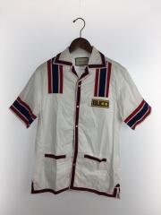 半袖シャツ/44/コットン/WHT/オープンカラー ロゴ