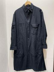 20SS/コットンツイルビッグポケットシャツ/長袖シャツ/1/コットン/blk/無地/HN-B07-002/ロングシャツ