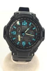 ソーラー腕時計・G-SHOCK/アナログ/ラバー/BLK/BLK/ガラス面キズ有