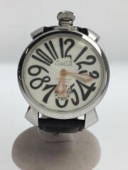 クォーツ腕時計/アナログ/レザー/SLV/BLK/マニューレ48㎜