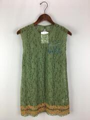 刺繍レースワンピース/ノースリーブカットソー/M/ナイロン/グリーン