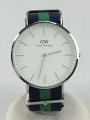 腕時計/アナログ/ナイロン/WHT/BLU