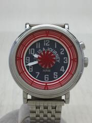 ×MOTHER NATURE/クォーツ腕時計/アナログス/ブラック/シルバー/キズ・使用感有