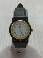 クリッパー/オーストリッチ/クォーツ腕時計/アナログ/レザー/ホワイト/グリーン// Clipper