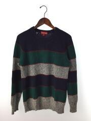 14AW/Rib Crewneck Sweater/セーター(厚手)/S/コットン/NVY/ボーダー