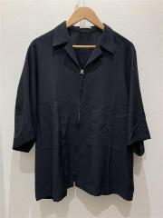 20ss/ジップシャツ/半袖シャツ/L/ポリエステル/BLK/lm20ss06272-09-03