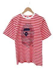 Tシャツ/L/コットン/レッド/ボーダー/001csg721924x