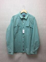 長袖シャツ/XL/コットン/BLU/チェック/ブルー/パタゴニア/アイランド ホッパーⅡ