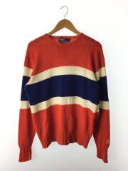 セーター(薄手)/L/コットン/ORN/ナイガイ/90s/汚れ/クルーネック  ハイゲージ ボーダー