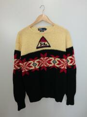 スノービーチ/オリジナル/90s/セーター(厚手)/L/ウール/BLK/クルーネック ジャガード ノルディック