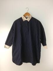 ビッグシャツ/長袖ワンピース/S/コットン/NVY/ストライプ/L152SDFSH0003B
