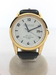腕時計/アナログ/レザー/GRY/V157-0BK0/ベルト使用感有