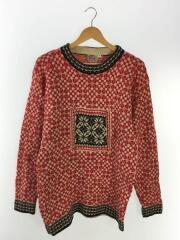 1970s/ノルディック/セーター(厚手)/L/ウール/RED/総柄