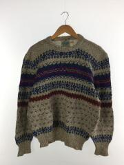 セーター(厚手)/M/ウール/GRY/総柄/1970s/ノルディックセーター/汚れ有