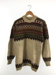 alan/セーター(厚手)/6/ウール/BEG/総柄/1970s/ノルディックヴィンテージセーター/汚