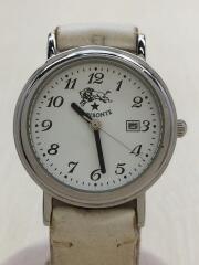 腕時計/アナログ/レザー/WHT/WHT