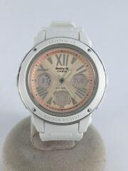 カシオ/クォーツ腕時計/アナログ/ラバー/ピンク/ホワイト/BGA-152