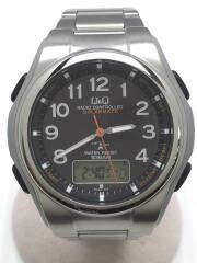 ソーラー腕時計/デジアナ/ステンレス/BLK/黒/ブラック