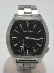 クォーツ腕時計/アナログ/ステンレス/BLK/SLV/黒/ブラック