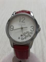 クォーツ腕時計/アナログ/レザー/SLV/RED