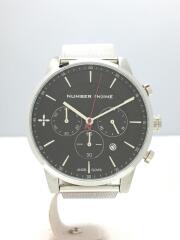 クォーツ腕時計/アナログ/ステンレス/BLK/SLV/ブラック/シルバー/エンジェルクローバー