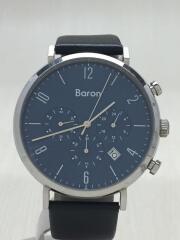Baron/クォーツ腕時計/アナログ/レザー/BLU/青/BLK/黒