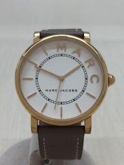 クォーツ腕時計/アナログ/レザー/WHT/ホワイト/白/BRW/ブラウン/茶/MJ1533