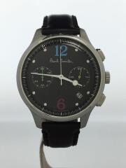 クォーツ腕時計/アナログ/レザー/BLK/BLK/6521-S087252
