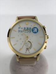 クォーツ腕時計/アナログ/レザー/WHT/PNK/KST23102/251610/スマート