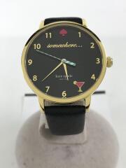 メトロ/クォーツ腕時計/アナログ/レザー/BLK/BLK/KSW1039
