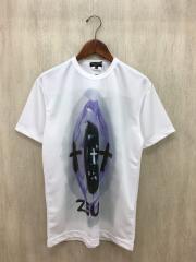 コムデギャルソンオムプリュス/Tシャツ/M/ポリエステル/WHT/プリント