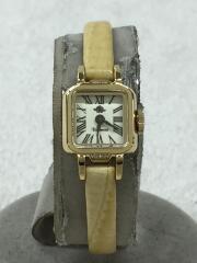 クォーツ腕時計/アナログ/レザー/ホワイト/クリーム