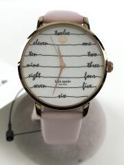 メトロチョークボードウォッチ/クォーツ腕時計/アナログ/レザー/WHT/PNK/KSW1239