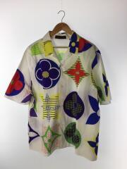 半袖シャツ/4L/コットン/WHT/総柄/1A7XP/マルチカラーモノグラムハワイアンフィットシャツ