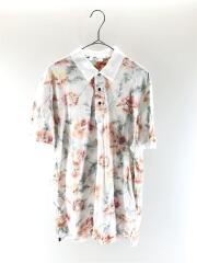 ポロシャツ/--/コットン/WHT/花柄/総柄/インサイドアウト/スリット