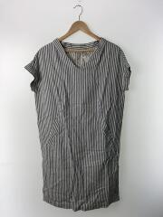 半袖ワンピース/--/リネン/BLU/ストライプ/6623601