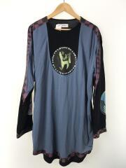 パネルロングTシャツ/長袖Tシャツ/FREE/コットン/BLK/00082020