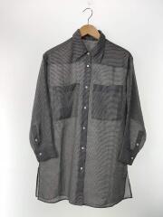 2020SS/シアーギンガムチェックポケットワイドシャツシャツ/S/ポリエステル/GRY/