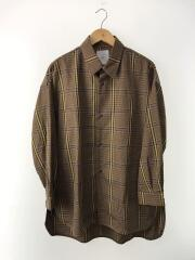 チェックスリットテールシャツ/XL/ポリエステル/BRW/チェック/LUZ2002304A0002