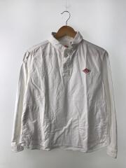 オックスフォードラウンドカラーシャツ/プルオーバー長袖シャツ/36/コットン/WHT/無地