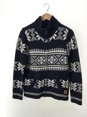 ジップセーター(厚手)/M/NVY/総柄