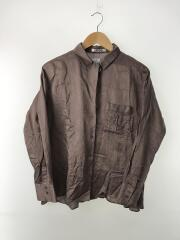 オープンカラーシャツ/長袖シャツ/FREE/コットン/シルク混/ブラウン/茶