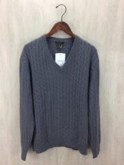 セーター(厚手)/M/カシミア/グレー/Vネック ローゲージ ケーブル