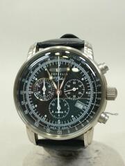 100周年記念モデル/クロノグラフ/クォーツ腕時計/アナログ/レザー/BLK/BLK/7680-2
