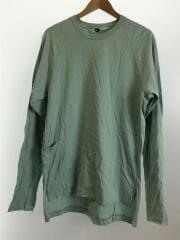 ポケット付きオーバーサイズロングTEE/長袖Tシャツ/3/コットン/GRN/無地