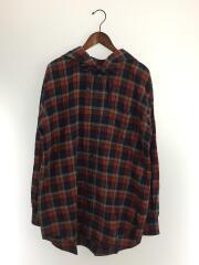 フード付オーバーサイズシャツ/シャツパーカー/SIZE:41/コットン/RED/チェック